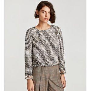 Zara tweed pearl sleeve details